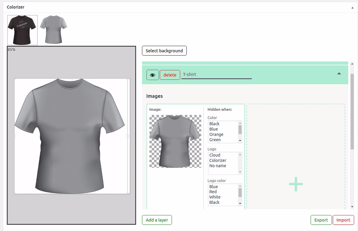 Graphic editor available in Woocommerce Product Colorizer